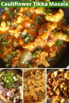 Cauliflower tikka masala or gobi tikka masala is a rich and creamy curry. Read how to make gobi tikka masala and with it's vegan version. Vegetarian Curry, Vegetarian Lunch, Vegetarian Recipes Dinner, Lunch Recipes, Free Recipes, Dinner Recipes, Vegan Tikka Masala, Tikka Masala Sauce, Paneer Tikka
