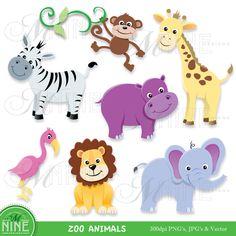 Digital Clipart ZOO ANIMALS Clip Art Instant Download Elephant Lion Zebra Monkey Giraffe Flamingo