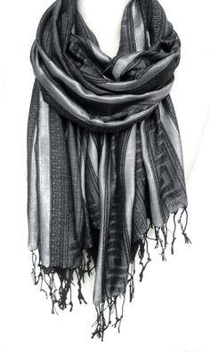Grey Scarf. Metallic Shawl. Black Pashmina. Fringed Winter Scarf. Meander Pattern. Sparkling Silver Stripes. 27x68in (70x170cm) Ready2Ship on Etsy, $20.99 CAD