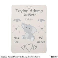 Elephant Theme Nursery Birth Stats Baby Blanket  #babyblankets #baby #ad #MissRhoadie