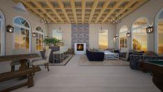 Interior of Cabine - by JarkaK Log Holder, Blue Armchair, Beams, Sketches, Patio, Interior, Outdoor Decor, Room, Design