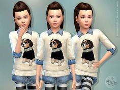 Lana CC Finds - Sweater with Cute Dog-Motive by lillka