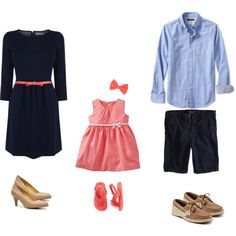 """Coral & Navy Family"