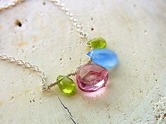 Sale!15%Off  Pastel Color Gem Necklace Multi Color Gemstone Necklace Wire Work Necklace Pink Quartz Peridot Chalcedony Silver Necklace by QuietRobin on Etsy
