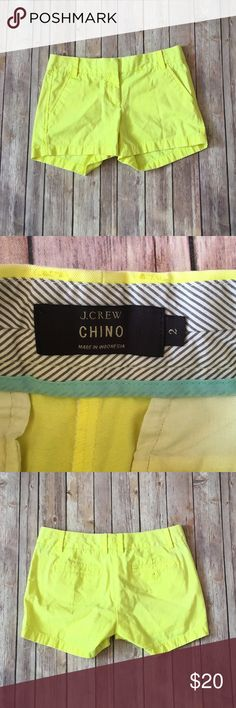 J Crew Chino Shorts Size 2 J Crew Chino Shorts Neon Yellow In excellent Condition No signs of wear or fading J. Crew Shorts