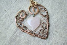 ROSE QUARTZ  necklace - heart necklace - summer gift for her on Etsy, $44.00