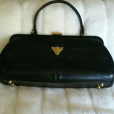 Today only price! Vintage Calderon Leather Handbag Black leather retro handbag in great preloved condition. 13 in x 6 1/2 in x 3 in. Temporary price firm. Bags Satchels