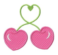 Cherry Hearts Applique - 3 Sizes! | Valentine's Day | Machine Embroidery Designs | SWAKembroidery.com Applique for Kids