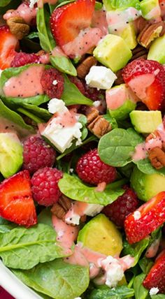 Red Berry Avocado Spinach Salad with Strawberry Poppy Seed Dressing - healthy, delicious salad packed with fiber! Vibrant flavors - perfect for the Summer!