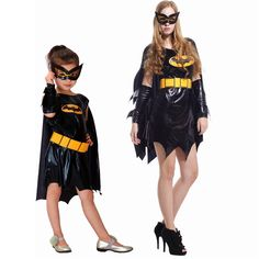 Mother Daughter Dresses Batman Dress with Cloak and Mask for Girls Women Carnival Masquerade Halloween Party Cosplay Costumes