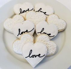 Wedding or Bridal Shower Decorated Heart Cookie Favors, 1 Dozen Wedding Shower Cookies, Bridal Shower Desserts, Wedding Desserts, Wedding Favours, Party Favors, Bridal Showers, Shower Favors, Cookies For Wedding, Decorated Wedding Cookies