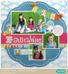 Lori Whitlock Blog Hop: Echo Park I Love Sunshine Layout by Mendi Yoshikawa