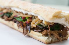 Vegan Maple Glazed Seitan Sandwiches w/ Beer-Braised Onions & Garlic, Swiss Chard, & Horseradish Cream » Peaceful Plate