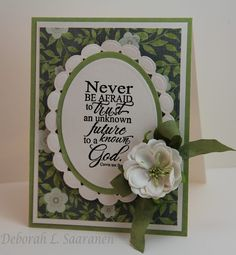 Words of encouragement by Deb for The Stamp Simply Ribbon Store using products by Kaisercraft, Our Daily Bread Designs, Spellbinders, Prima and May Arts.