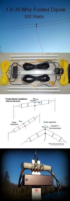 Ham Radio Receivers: Wide-Band Folded Dipole,Ham, Broadband,1.8-30 Mhz, 300W Ssb, 45 Feet, (T2fd) BUY IT NOW ONLY: $289.95