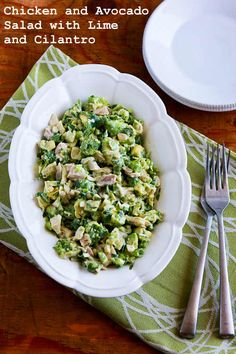 This amazing recipe for Chicken and Avocado Salad with Lime and Cilantro has been pinned 355,000+ times.  So yes, this is really, really good!  [from Kalyn's Kitchen] #LowCarb #GlutenFree #SouthBeachDiet #CanBePaleo
