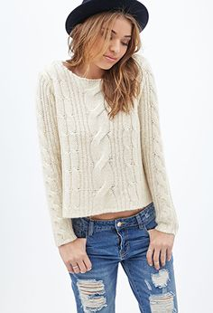 Boxy Cable Knit Sweater | FOREVER21 - 2000119914 - Also in BURGUNDY AND NAVY