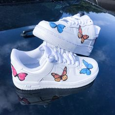 Each pair of NIKE Air Force is handmade with love in the United States, ensuring quality and fast domestic shipping. Designs including Blue, Pink, and Purple Butterfly Air Force Reflective Air Force and Nostalgic Cartoons available now. Custom Sneakers, Custom Shoes, Customised Shoes, Custom Af1, Nike Fashion, Sneakers Fashion, Nike Sneakers, Punk Fashion, Lolita Fashion
