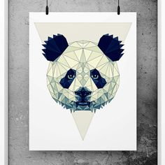 Panda Poster Geometric Art, Scandinavian Design, Minimalist Abstract Print, Simple art, Minimal print, Black and white nursery decor, Geometric wall