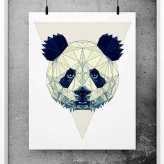 Panda Poster Geometric Art, Scandinavian Design, Minimalist Abstract Print, Simple art, Minimal print, Black and white nursery decor, Geometric wall