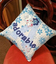 Beautiful blue letter A adorable decorative cushion by Quiltingadream on Etsy