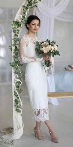 21 Incredible Tea Length Wedding Dresses ❤️ tea length wedding dresses with long-sleeves lace anna s Lace Wedding Dress With Sleeves, Red Wedding Dresses, Long Sleeve Wedding, Bridal Dresses, Wedding Gowns, Dresses Dresses, Wedding Dress Older Bride, Wedding Dresses For Older Women, Wedding Bride