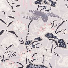 Schumacher - LOTUS GARDEN.  This enchanting pattern, recreated from a 1920s document in our archives, is an ode to Japanese natural motifs. Also available as a fabric.