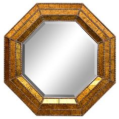 Wall MIrror, Gold, Crackle, Octagon, Mirror, Hanging
