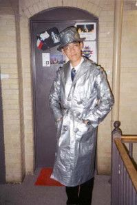 Duct tape man about town.