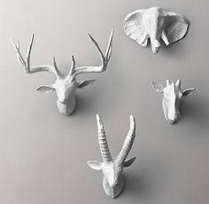 RH Baby & Child, Petite Papier-Mâché Animal Heads