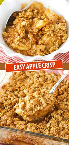 This Easy Apple Crisp is made with fresh sliced apples coated in a cinnamon and brown sugar sauce, then topped with a cinnamon oat topping! It's the perfect easy treat as we approach fall and start apple picking! # Old Fashioned Easy Apple Crisp Recipe Best Apple Crisp Recipe, Apple Crisp Easy, Apple Crisp Recipes, Apple Crisp With Oats, Apple Crumble Recipe Easy, Apple Crisp Topping, Apple Crisp Healthy, Apple Baking Recipes, Apple Topping Recipe