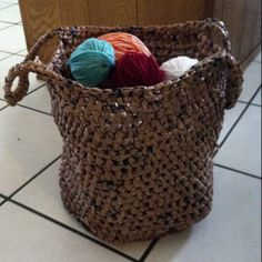 Go Green! with this crocheted basket made with recycled grocery bags.