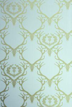 Deer Damask Wallpaper, Duck Egg Blue & Antique Gold