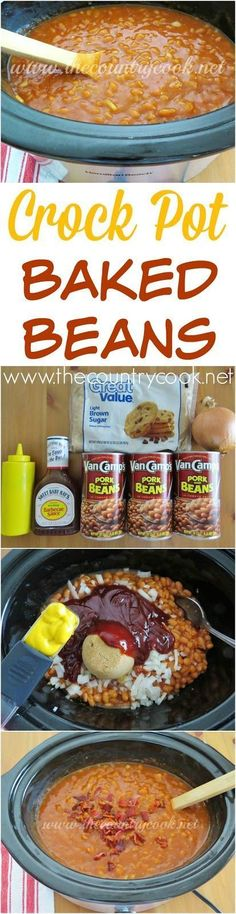 Crock Pot Baked Beans recipe from The Country Cook. Love that this cooks itself and I can keep it warm for everyone while they serve themselves. The flavor from Sweet Baby Ray's BBQ sauce makes all the difference. #LaborDay #MemorialDay #BBQ #sides #recipes