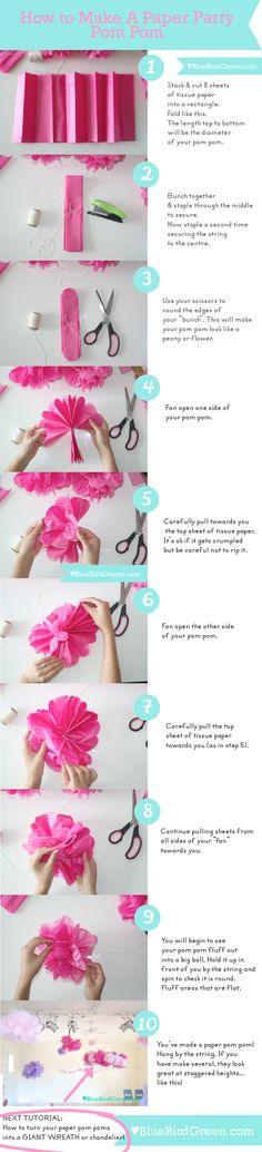 How to Make And Fluff A Paper Party Pom Pom | BlueBirdGreen.com