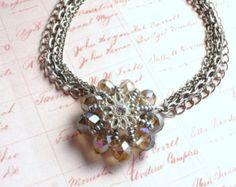 Multi-Chain Silver Gray Crystal Flower Beaded Necklace, Handmade, OOAK