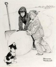 """""""Two Boys Building A Snowman"""" By: Norman Rockwell"""