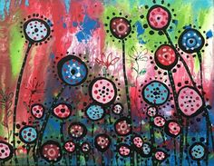 Original Acrylic Painting on Canvas Modern Flowers Field Country Landscape #OutsiderArt