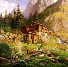 An+Alpine+Mill++Cross+stitch+pattern+pdf+format+by+diana70+on+Etsy,+$6.50
