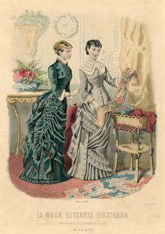 Beautiful Victorian fashion plate! La Moda Elegante Illustrada 1881