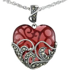 Lord & Taylor Marcasite Heart Pendant Necklace ($225) ❤ liked on Polyvore featuring jewelry, necklaces, accessories, red, red pendant, heart-shaped jewelry, heart shaped pendant necklace, red heart jewelry and red heart pendant