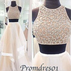 Cute creamy organza two pieces prom dress with sequins top, ball gown, prom dresses for teens #coniefox #2016prom