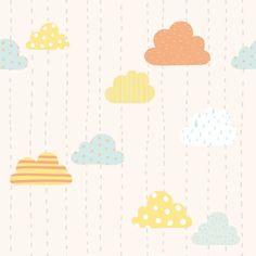 Papel de parede infantil céu e espaço nuvens coloridas 007