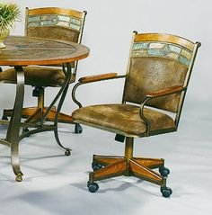 set of 2 cape town kitchen chairs with wheels by chromcraft