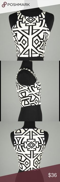 So So Cute Aztec Print Crop Top This top is pretty stylish with a tribal / Aztec print and stretchy lightweight material. Perfect for spring and summer! Classic black and white. Retail without tags. Tops Crop Tops
