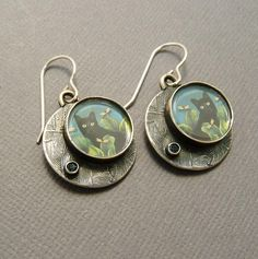 Estrin Wilson Bijou Graphique Sterling Black Cat Earrings