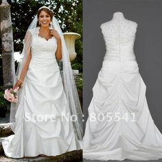 NEW! Real Photo A-line Cap Sleeved Satin Side-Draped Lace Beading Ruched Plus Size Wedding Dresses 9T3090 $199.99