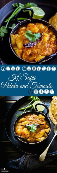 Jagruti's Cooking Odyssey: Aloo Tamatar Ki Sabji - Bataka Tameta nu Saak - Potato and Tomato Curry without onion garlic