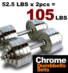 New MTN Gearsmith Heavy Duty Adjustable Cast Iron Chrome Weight Dumbbell Set Dumbbells 525 100 105 200 lbs SilverChromeCoated 105 LB *** See this great product.