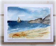 handmade card MIX71 Sand by Biggan ... watercolor shore scene ... little sailboat .... rocky cliff ... water gently lapping on the shore ... delightful!